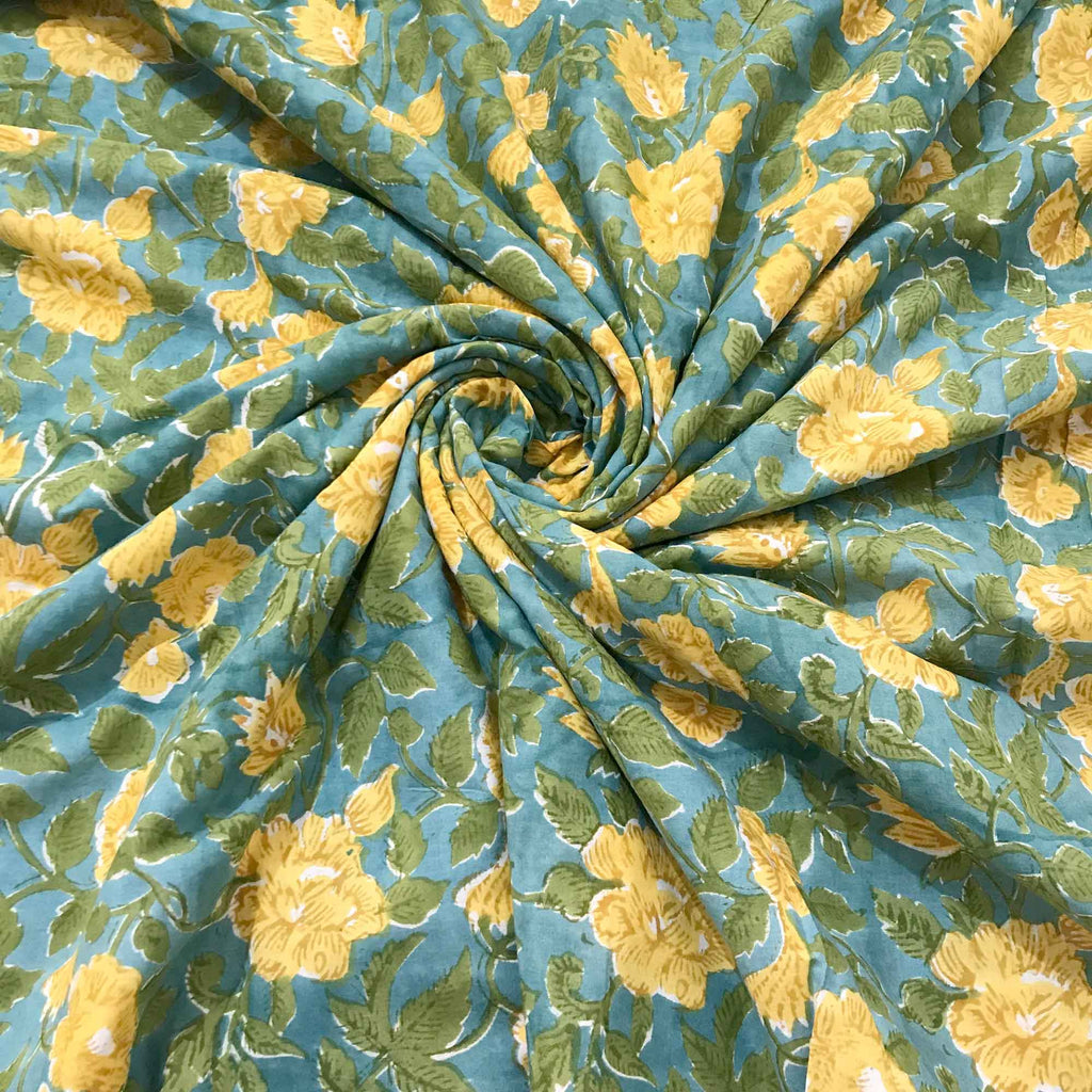 Green and Mustard Floral Print Cotton Fabric