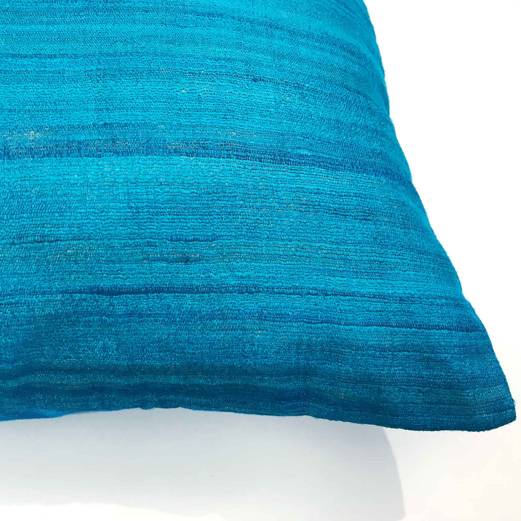 Teal Lumbar Silk Pillow Cover