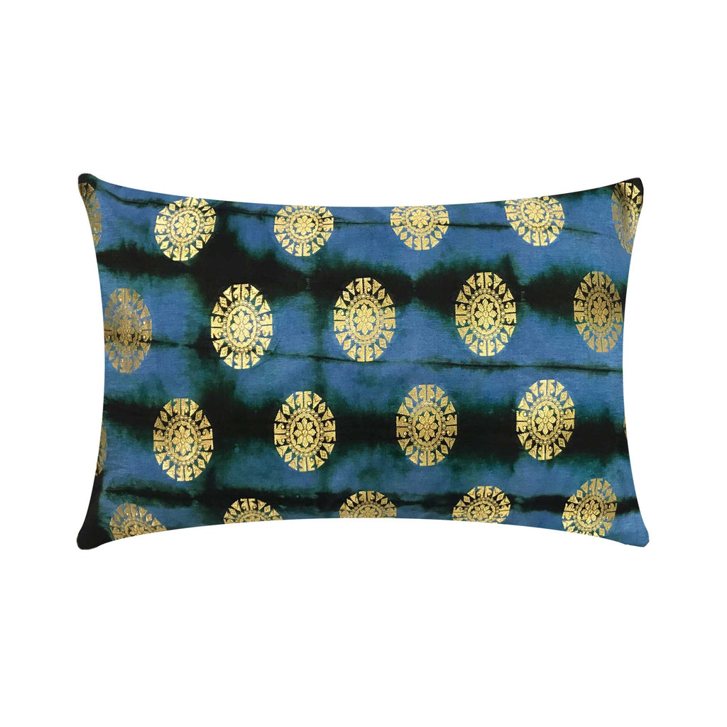 Handmade Grey Gold and Blue Mandala Pillow Cover
