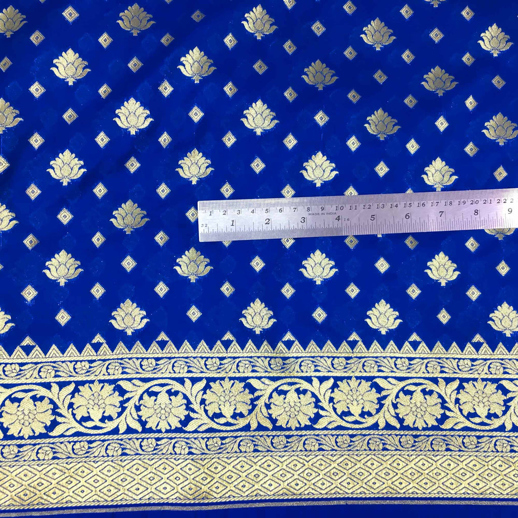 Blue and gold banarasi silk fabric buy online