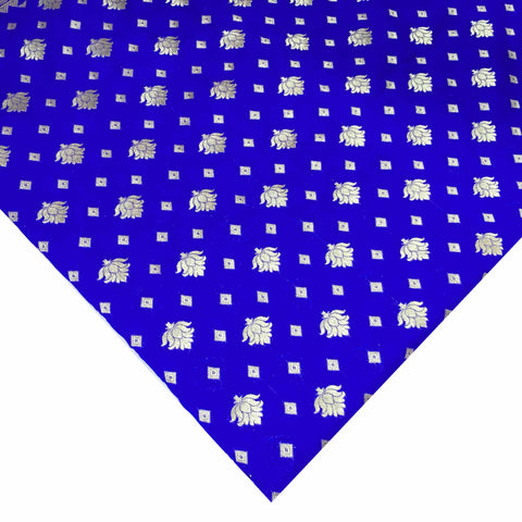 Royal blue and gold banarasi silk fabric