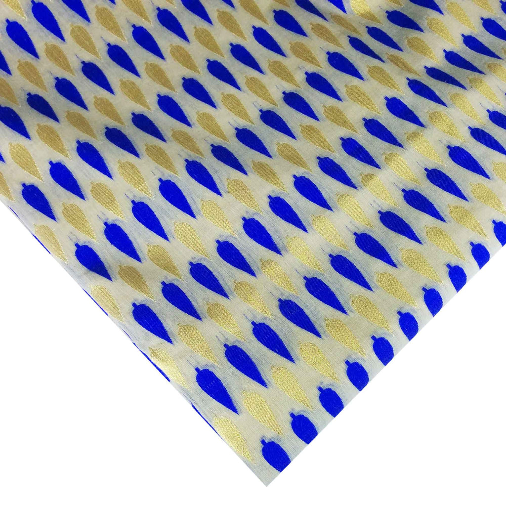 Royal Blue and Beige Gold Chanderi Silk Fabric