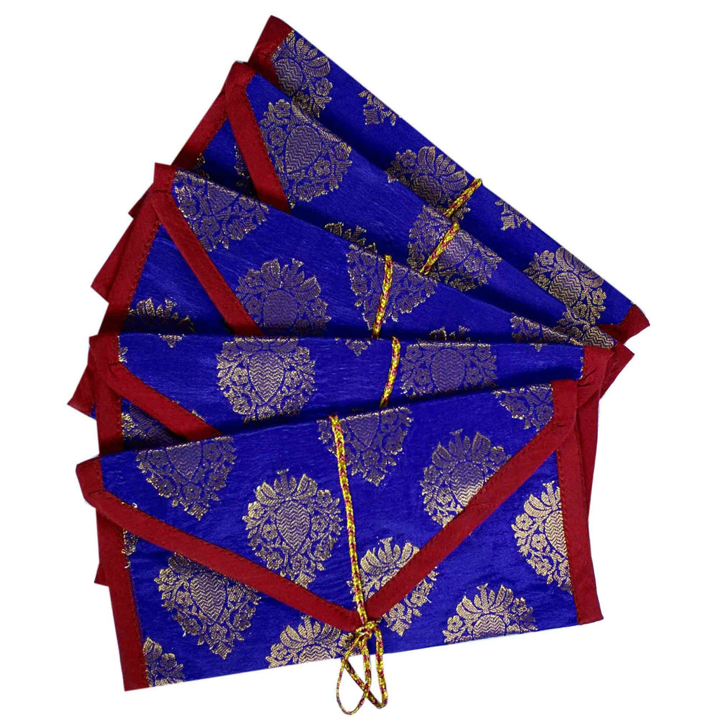 Set of 5 Blue and Gold Silk Fabric Gift Envelopes
