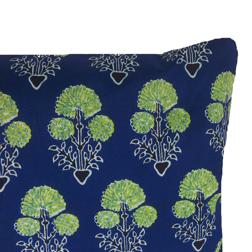 Blue and Green Floral Cotton Lumber Pillow Cover Buy Online From India