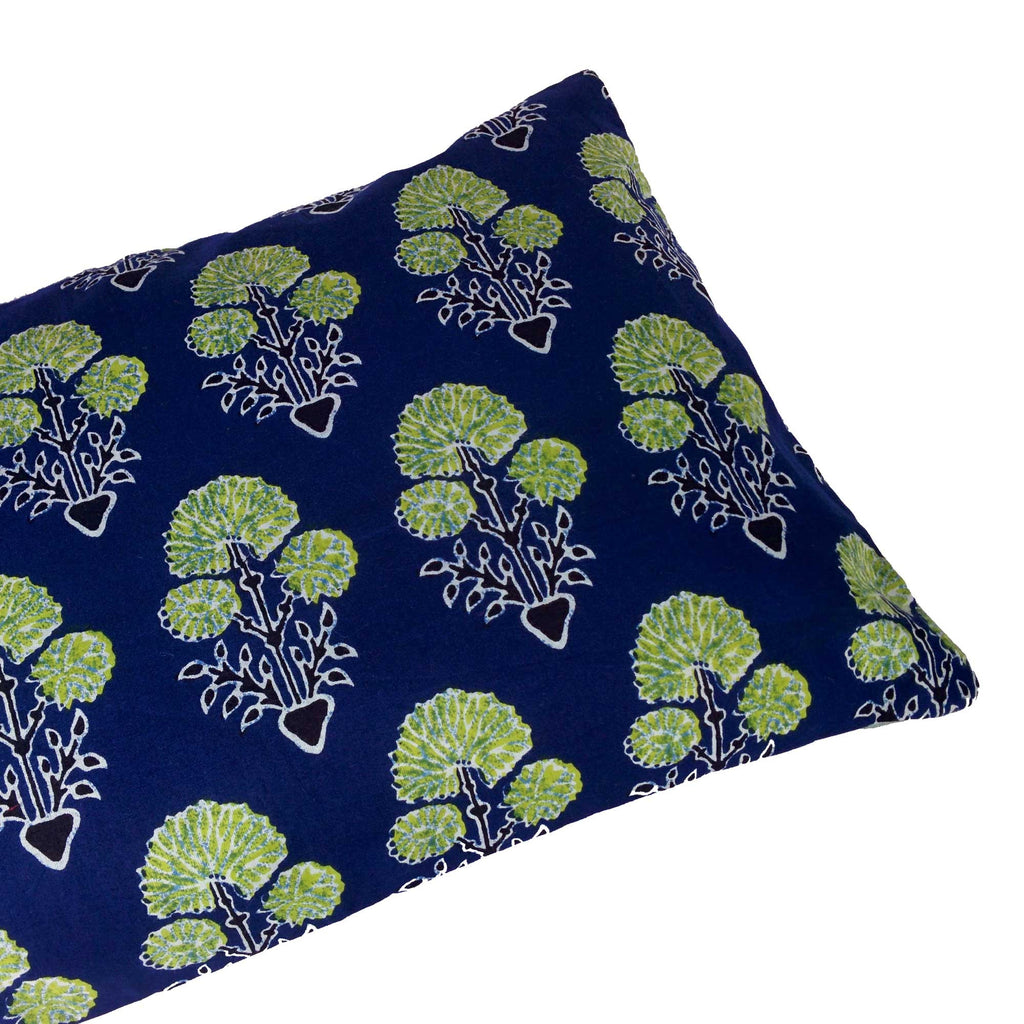 Blue and Green Floral Cotton Lumber Pillow Cover