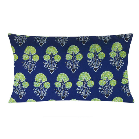 Blue and Green Floral Cotton Lumber Pillow Cover Buy Online From DesiCrafts