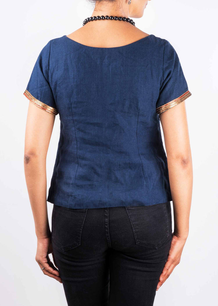 Blue Linen Embroidered Crop Top