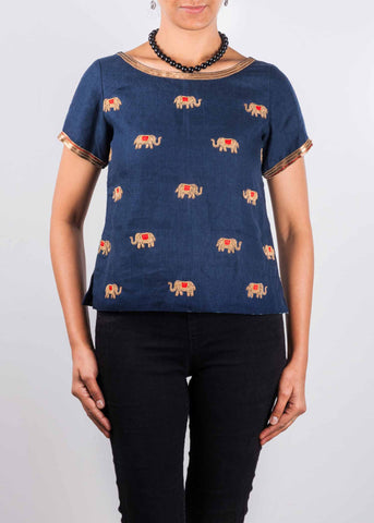 Aari Embroidery Linen Short Top By DesiCrafts