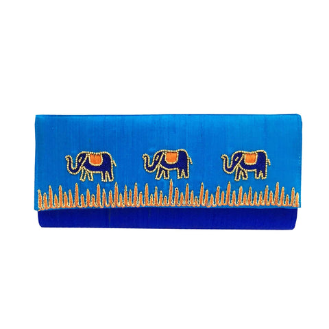 Blue Elephant Embroidery Raw Silk Clutch Purse