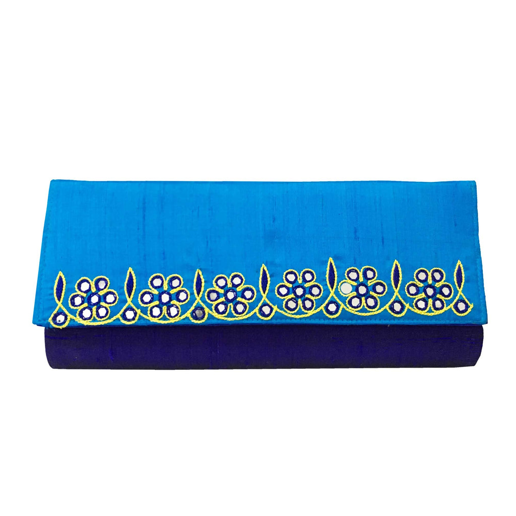 Blue Mirror Embroidery Silk Clutch Purse