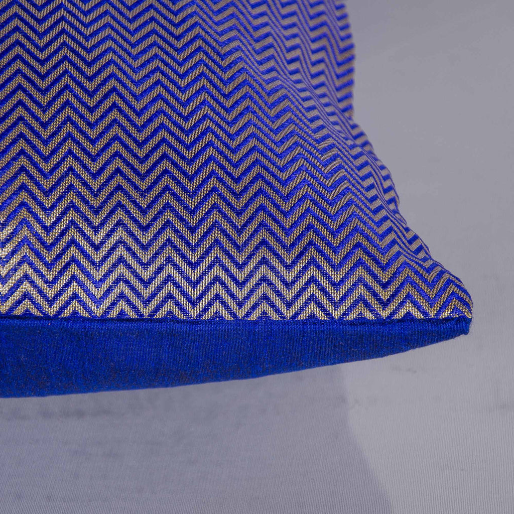 Blue and Silver Chevron Silk Pillow Cover