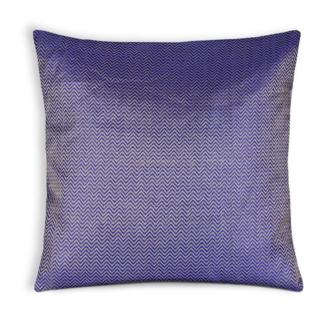 Blue Silver Chevron Silk Pillow Cover