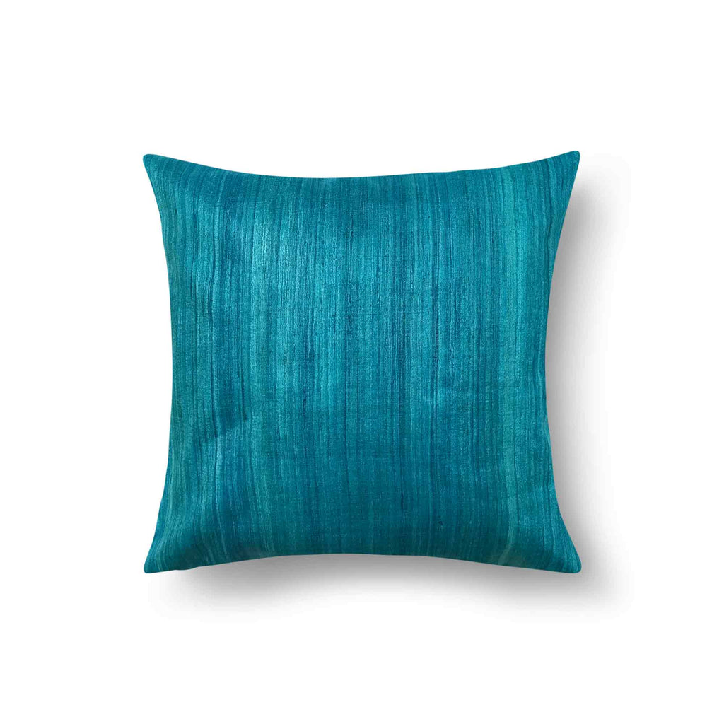Teal solid tussar silk pillow cover