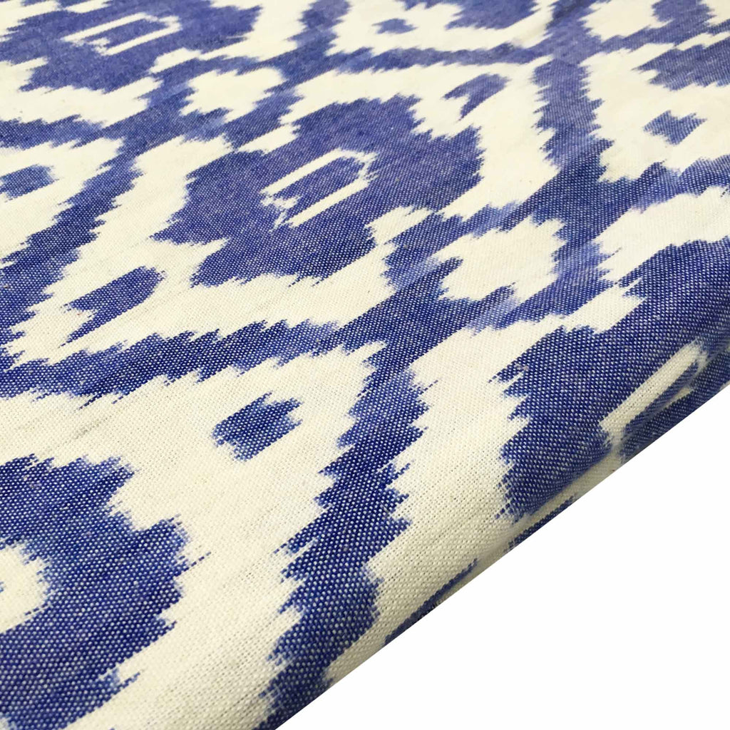 Blue and White Upholstery Weight Ikat Cotton Fabric
