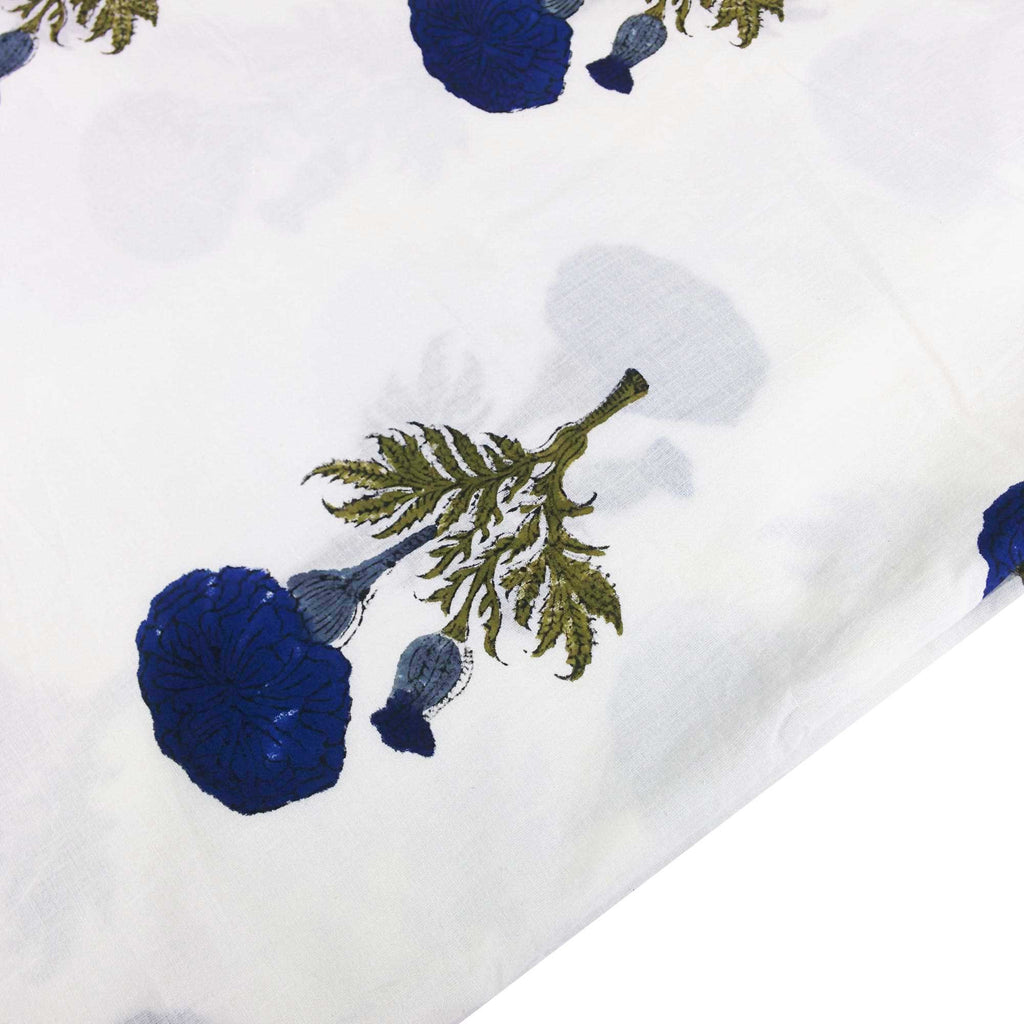 Blue and White Marigold Soft Cambric Cotton Fabric