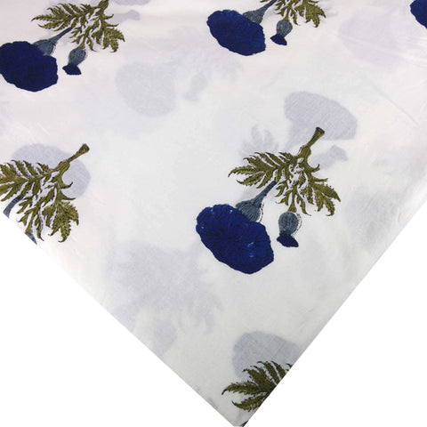 DesiCrafts Blue and White Marigold Soft Cambric Cotton Fabric