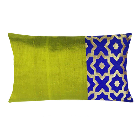 Olive and Royalblue Raw Silk Lumber Pillow Cover Buy Online From DesiCrafts