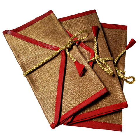 Set of 5 Bronze and Red Silk Fabric Gift Envelopes