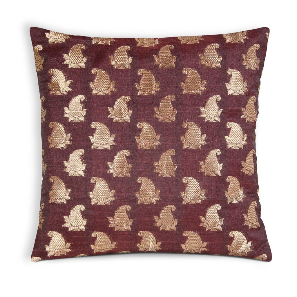 Gold and Maroon Silk Pillow Cover
