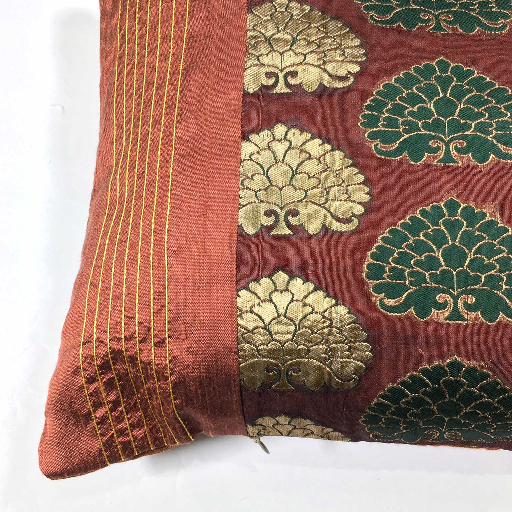 Kantha embroidery silk pillow cover buy online from DesiCrafts