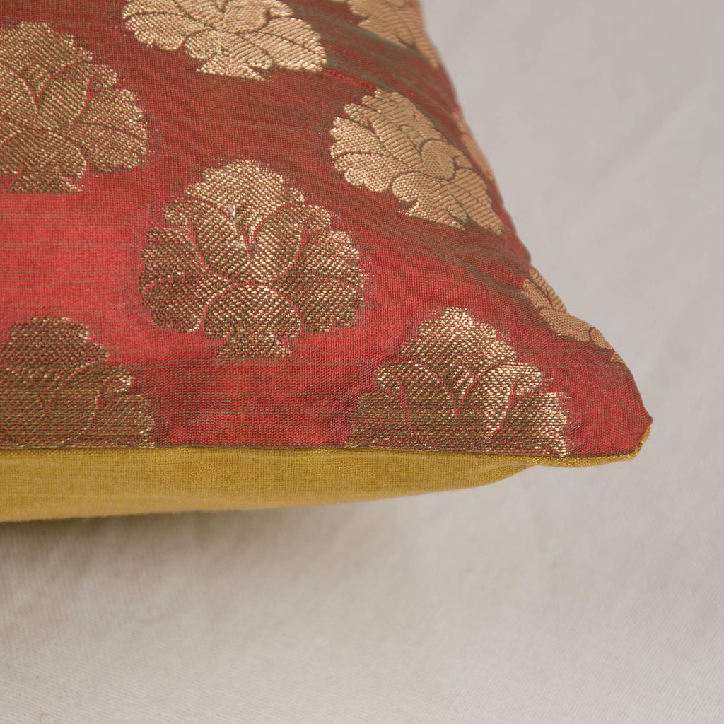 Chanderi Silk Pillow Cover in Marsala and Gold Silk