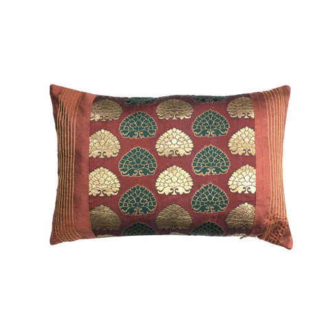 Brown and Gold Banarasi silk pillow cover