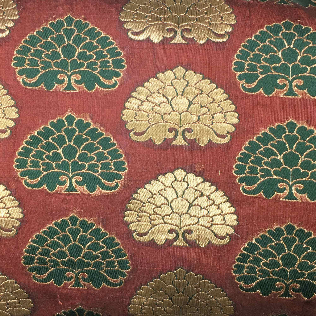Brown and Gold Banarasi Silk Lumbar Cushion Cover