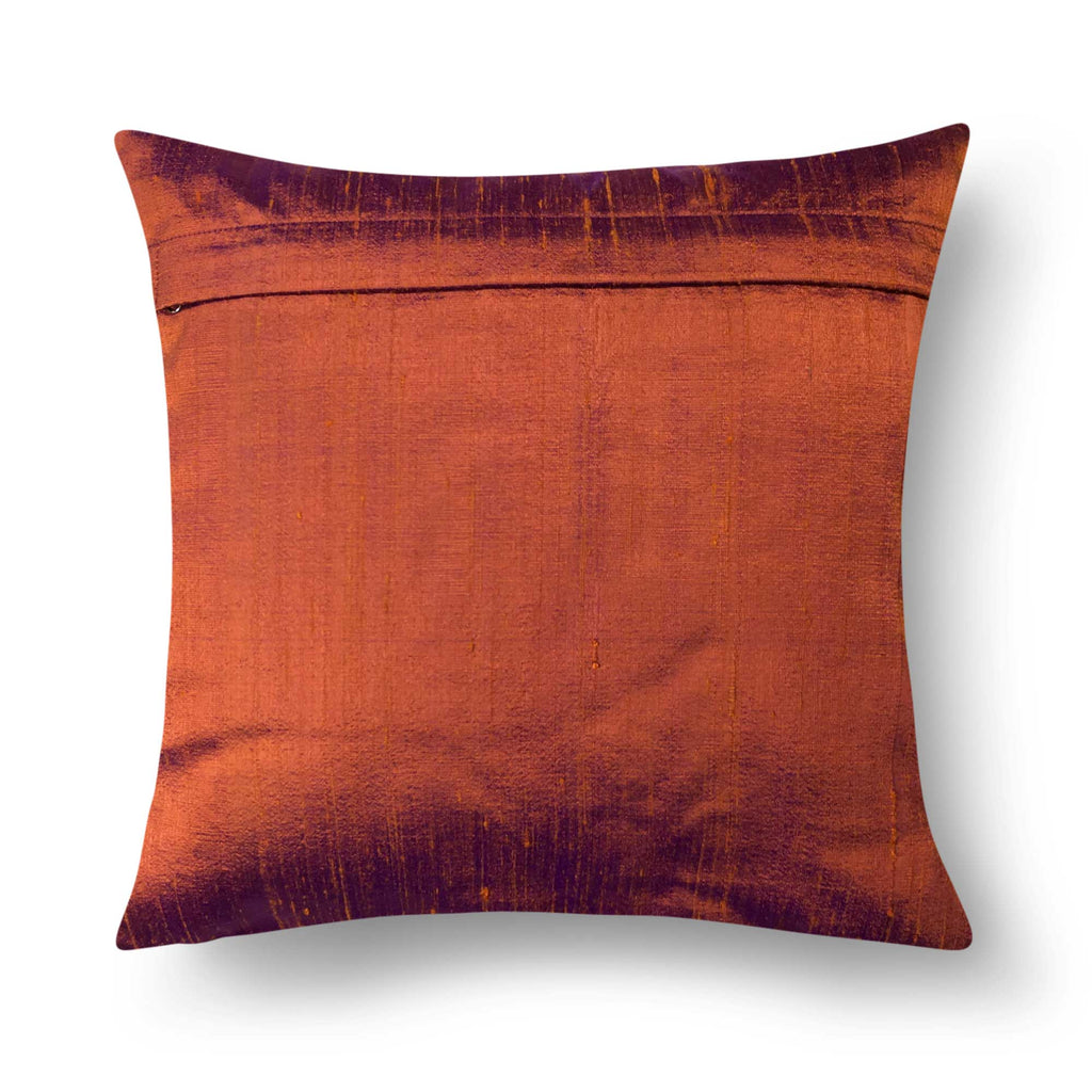 Solid Burgundy Raw Silk Cushion Cover Buy Online DesiCrafts