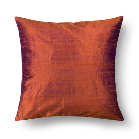 Solid Burgundy Raw Silk Cushion Cover By DesiCrafts