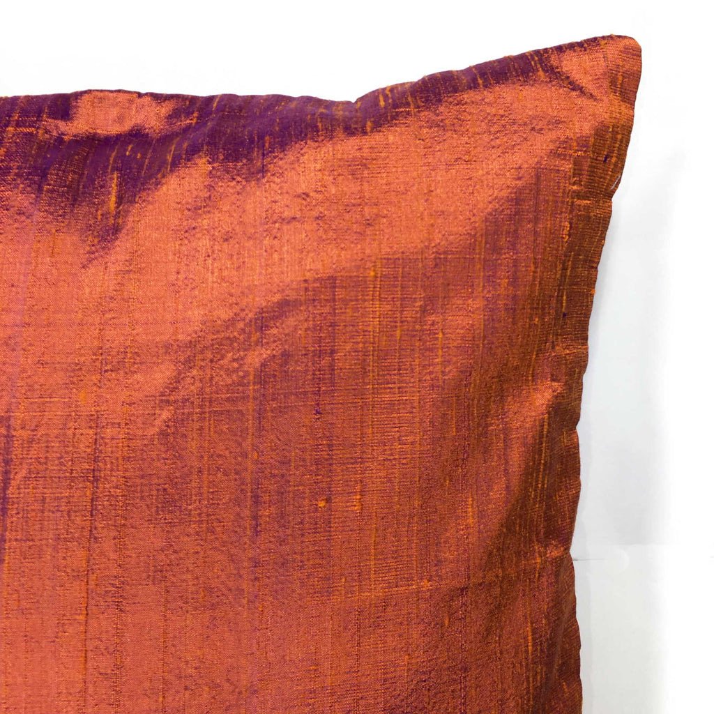Buy Burgundy Raw Silk Pillow Cover Online