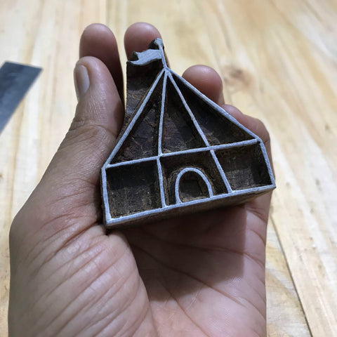 camping teepee wooden stamp