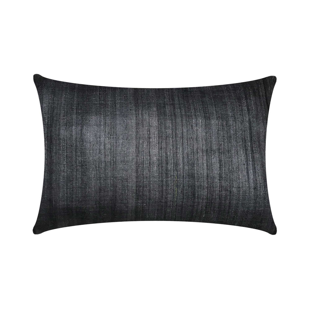 Charcoal Black Tussar Silk Lumbar Cushion Cover