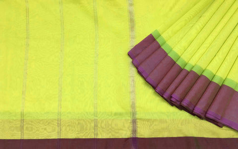 DesiCrafts Chartreuse Silk Cotton Sari