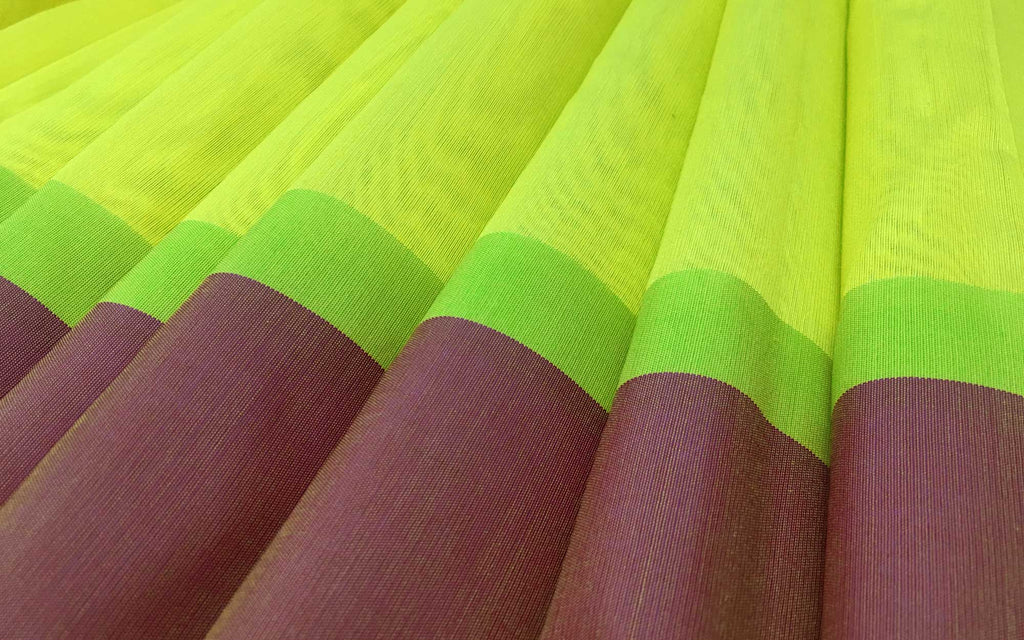 Plain Chartreuse Rust Border Sari