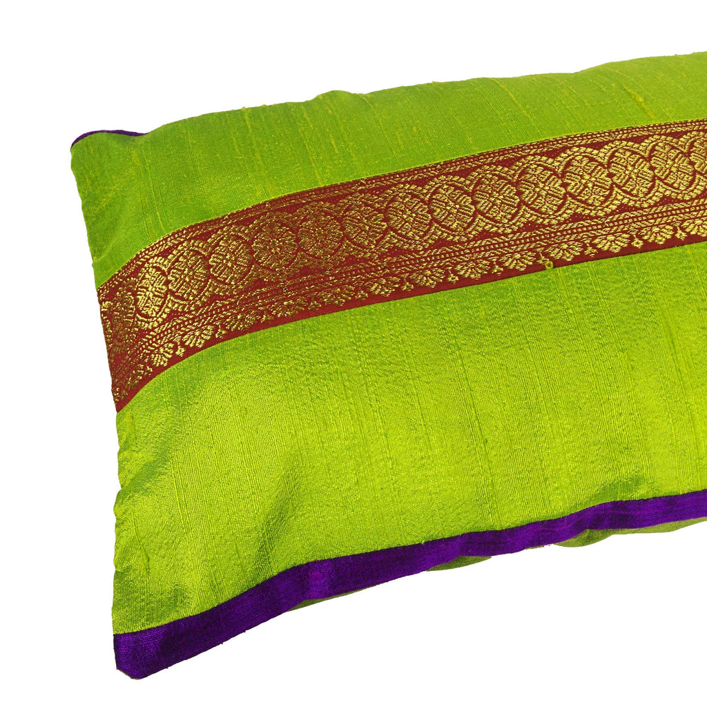 Chartuses and Rust Raw Silk Lumber Pillow Cover Buy Online From India