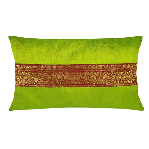 Chartuses and Rust Raw Silk Lumber Pillow Cover Buy Online From DesiCrafts