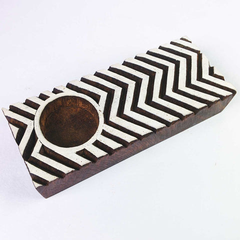 Hand Carved Chevron Tea Light Holder