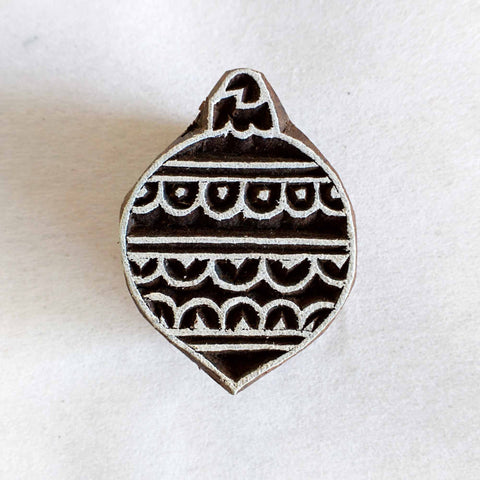 Christmas Bell Wooden Stamp for Fabric and Paper Printing