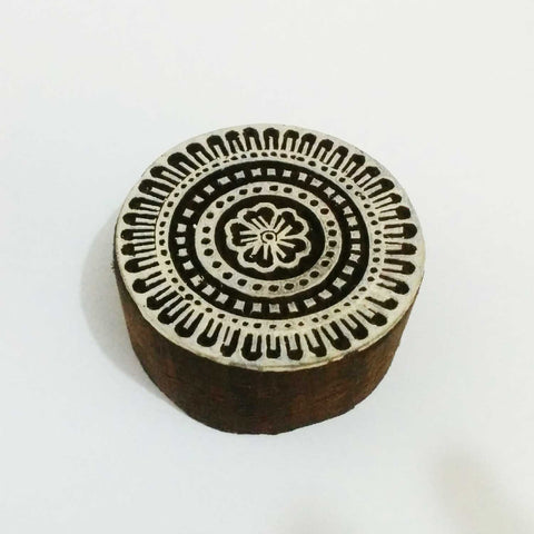 Circle Wooden Stamp For Hand Block Printing