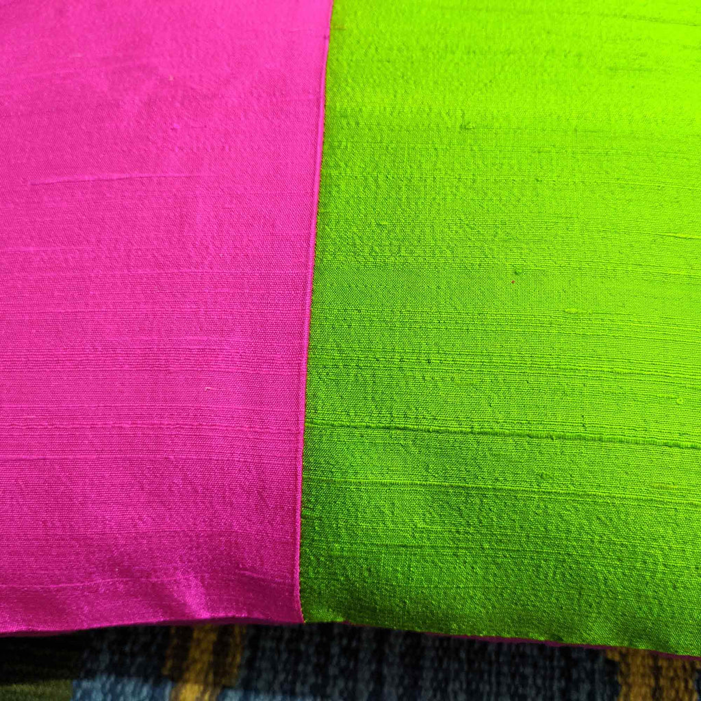 Colorblock pure silk lumbar pillow cover