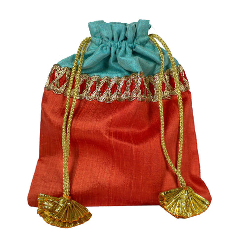 Coral and Aqua Drawstring Silk Bag Buy From DesiCrafts