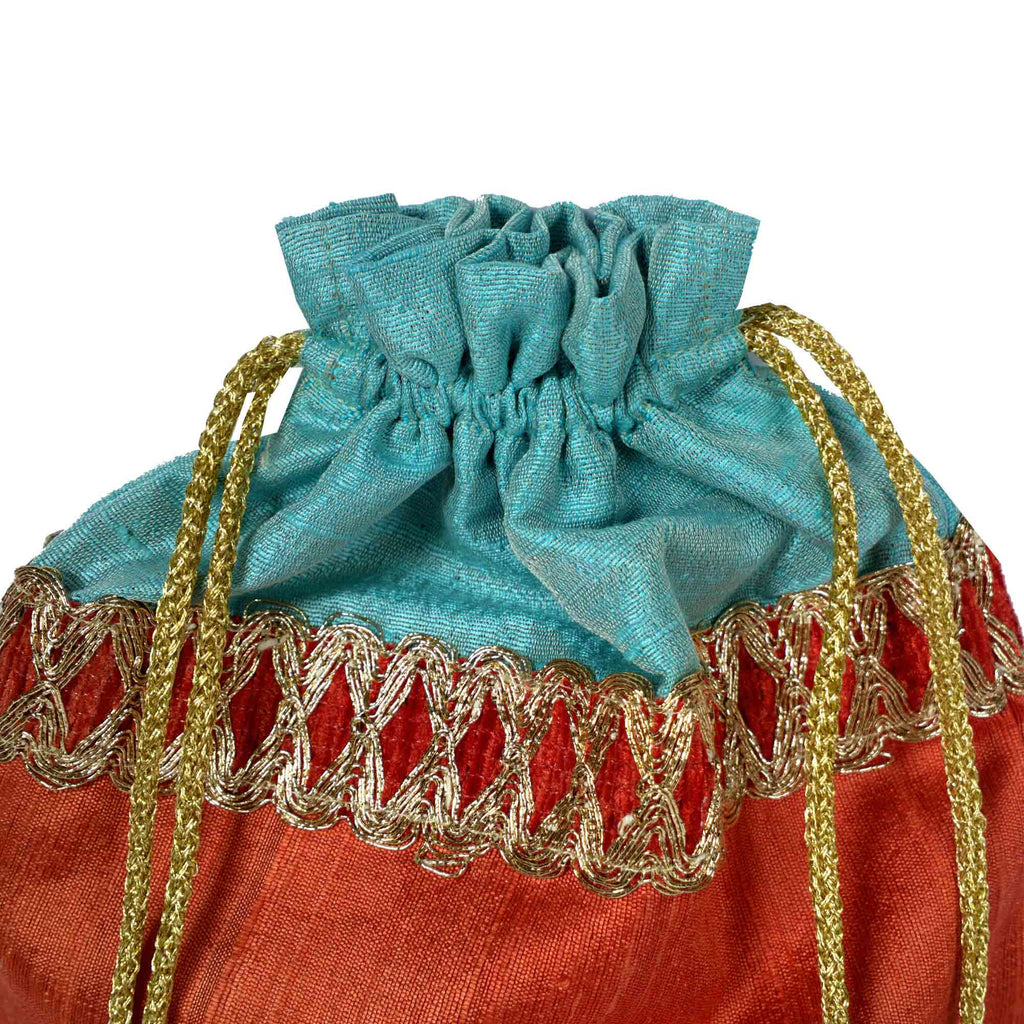 Coral and Aqua Drawstring Silk Bag Buy Online From India