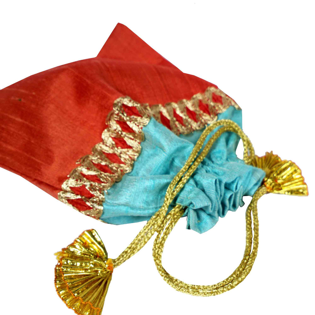 Coral and Aqua Drawstring Silk Pouch For Indian Wedding