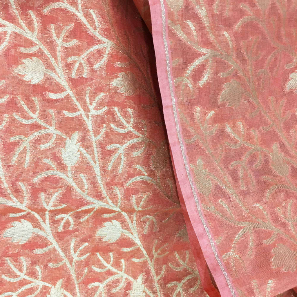 Coral and gold banarasi silk fabric By DesiCrafts