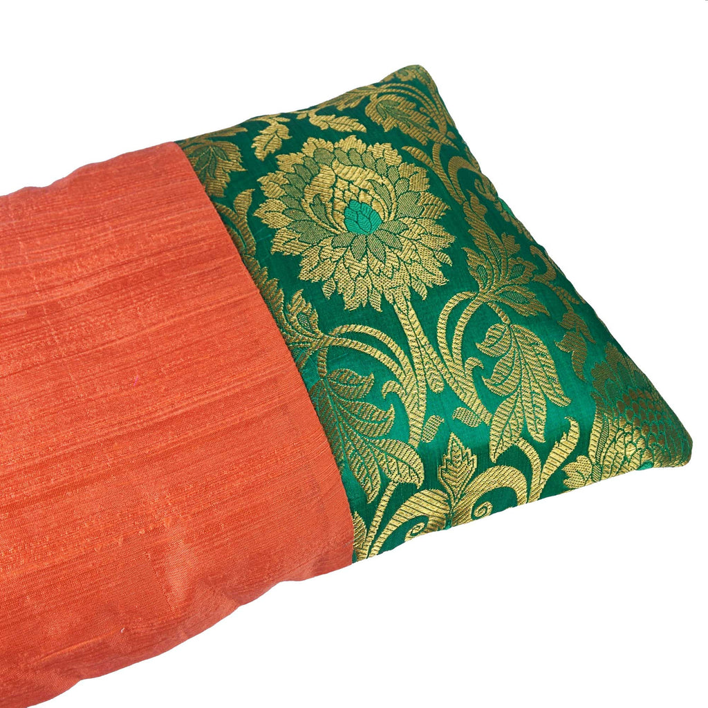 Coral and Seagreen Raw Silk Lumber Pillow Cover Buy Online From India