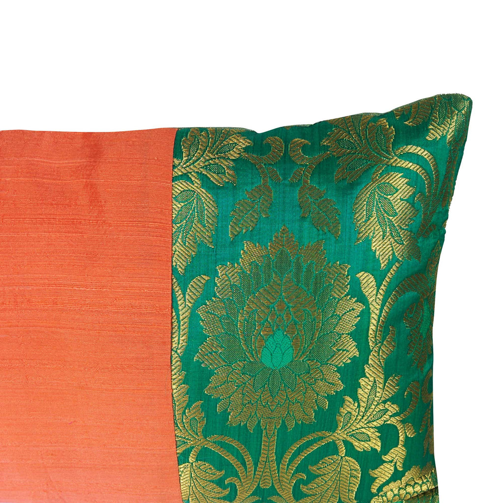 Coral and Seagreen Raw Silk Lumber Pillow Cover