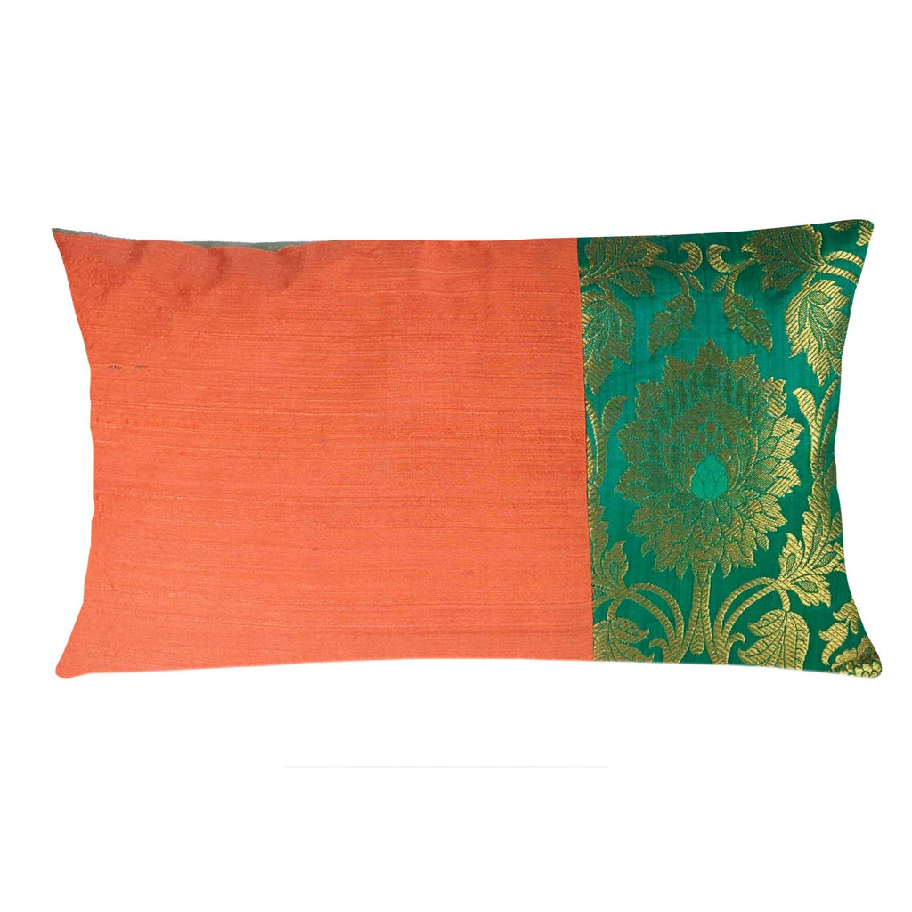 Coral and SeaGreen Raw Silk Lumber Pillow Cover Buy Online From DesiCrafts