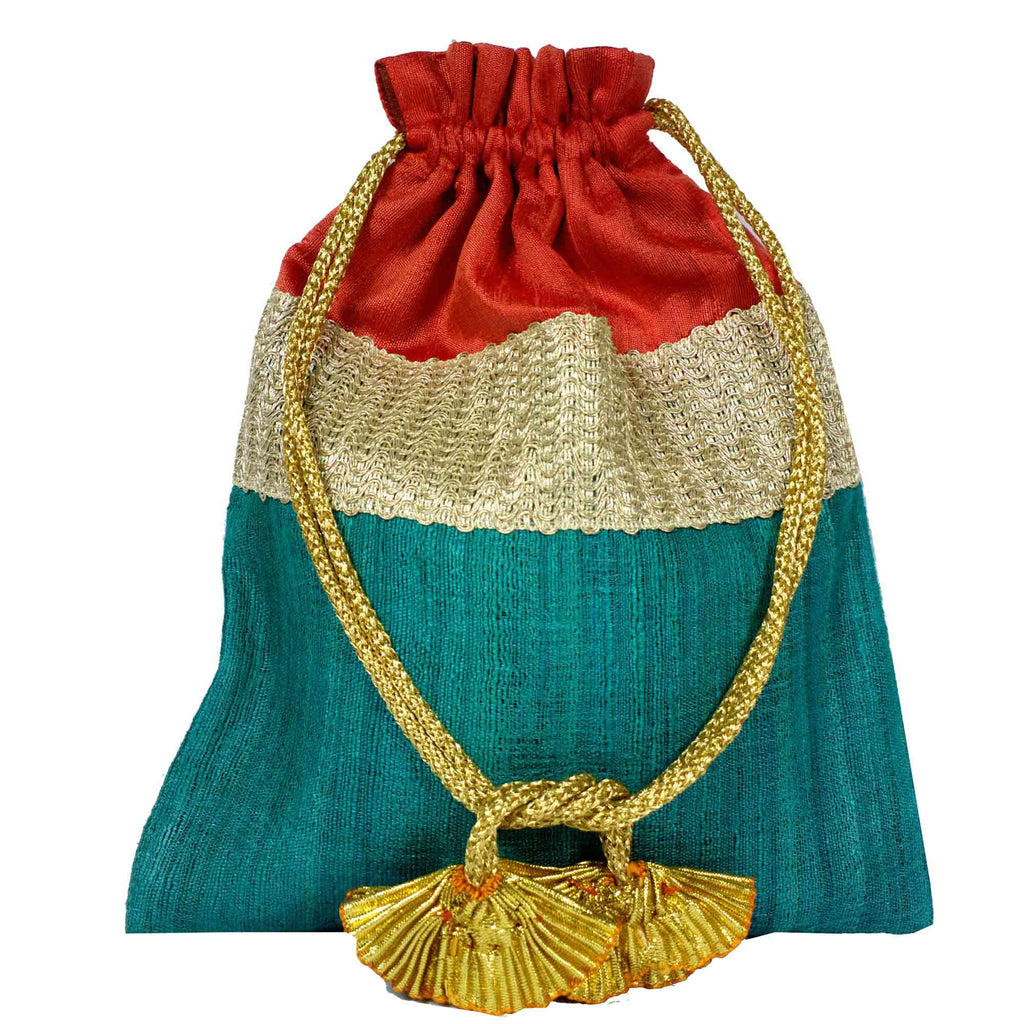 Teal and coral Drawstring Silk Bag Buy From DesiCrafts