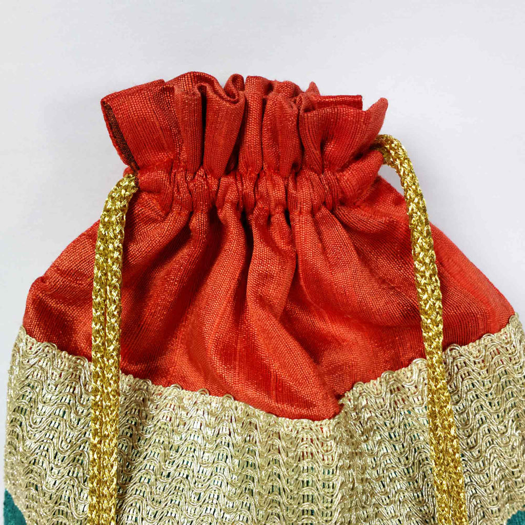 Teal and coral Drawstring Silk Bag Buy Online From India