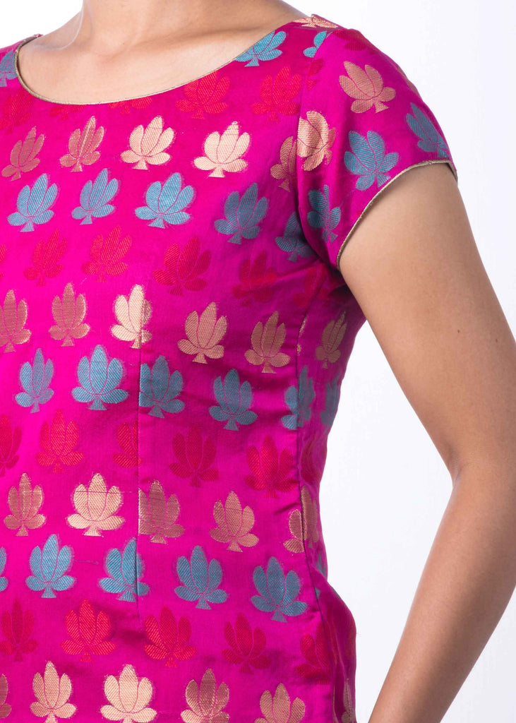 Buy Online Hot Pink Teal and Gold Chanderi Silk Top DesiCrafts